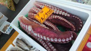 青森県八戸市の館鼻岩壁朝市の海産物
